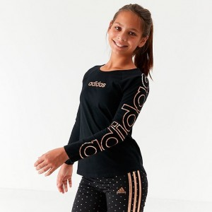 Girls' adidas Originals Raglan Long-Sleeve T-Shirt Black/Gold Sales