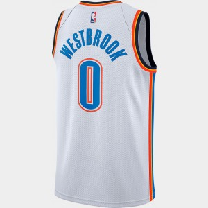 Men's Nike Oklahoma City Thunder NBA Russell Westbrook Association Connected Jersey White/Signal Blue Sales
