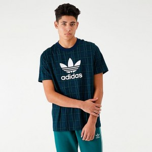 Men's adidas Originals Tartan Allover Print T-Shirt Collegiate Navy Sales