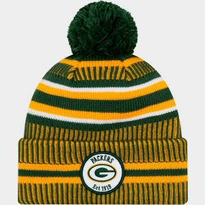 New Era Green Bay Packers NFL Home Striped Sideline Beanie Hat Team Colors Sales