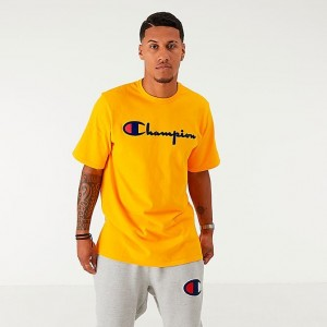 Men's Champion Flocked T-Shirt Gold Sales