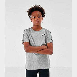 Boys' Nike Sportswear Taped T-Shirt Dark Grey Heather/White Sales