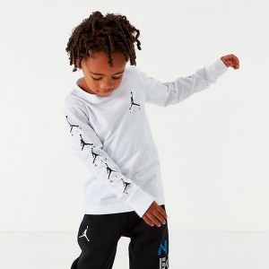 Boys' Little Kids' Jordan Air Time Long-Sleeve T-Shirt White Sales