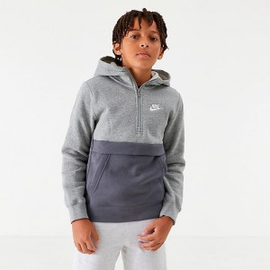 Boys' Nike Club Half-Zip Hoodie Dark Grey Heather Sales