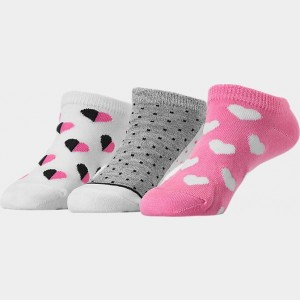 Kids' Finish Line 3-Pack No-Show Socks Pink/White/Grey/Black Sales
