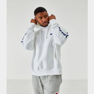 Men's Champion Reverse Weave Arm Script Hoodie White Sales