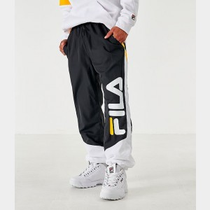 Men's Fila Gustavo Track Pants Black/White/Yellow Sales