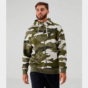Men's Nike Sportswear Camo Club Fleece Full-Zip Hoodie Medium Olive Sales