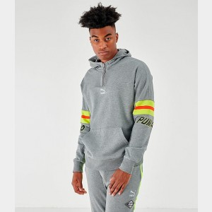 Men's Puma Lux Half-Zip Hoodie Grey Sales