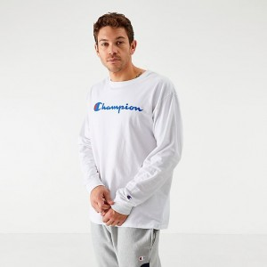 Men's Champion Core Script Long-Sleeve T-Shirt White Sales