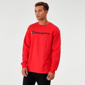 Men's Champion Core Script Long-Sleeve T-Shirt Red Sales