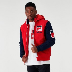 Men's Fila P1 Tech Jacket Red/Navy Sales
