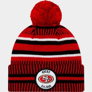 New Era San Francisco 49ers NFL Home Striped Sideline Beanie Hat Team Colors Sales