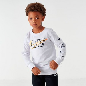 Boys' Little Kids' Nike Block Swoosh Long-Sleeve T-Shirt White/Multi Sales