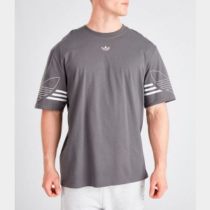 Men's adidas Originals Spirit Outline T-Shirt Grey Five Sales