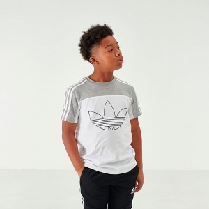Boys' adidas Originals Spirit Basketball T-Shirt Grey/White Sales