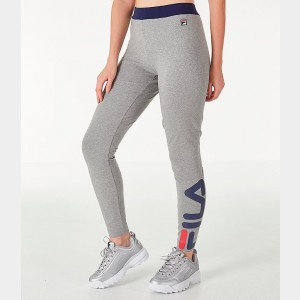Women's Fila Imelda Leggings Heather Grey/Navy Sales