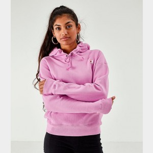 Women's Champion Reverse Weave Small Logo Hoodie Pink Sales
