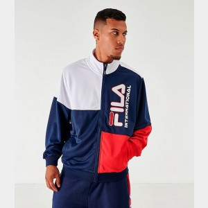 Men's Fila Daniele Full-Zip Jacket White/Navy/Red Sales