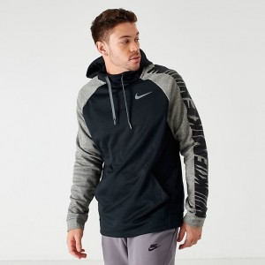 Men's Nike Therma HBR Lightweight Hoodie Black/Dark Grey Sales