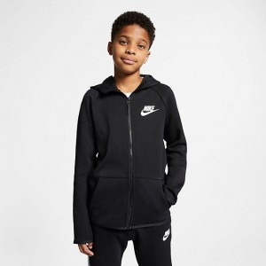 Kids' Nike Sportswear Tech Fleece Full-Zip Jacket Black/Black/White Sales