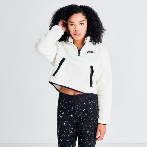 Women's Nike Sportswear Quarter-Zip Fleece Crop Top Pale Ivory/Black Sales