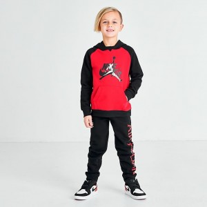 Little Kids' Jordan Jumpman Classic Pullover Hoodie and Jogger Pants Set Black/Red Sales