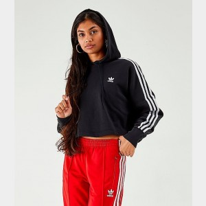 Women's adidas Originals 3-Stripes Cropped Hoodie Black Sales