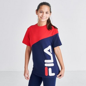 Kids' Fila Oden Colorblock T-Shirt Red Sales