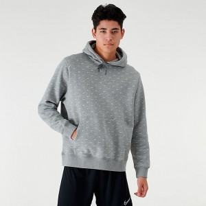 Men's Nike Sportswear Allover Print Swoosh Hoodie Grey/White Sales