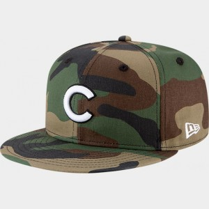 New Era Chicago Cubs MLB 9FIFTY Snapback Hat Camo Sales