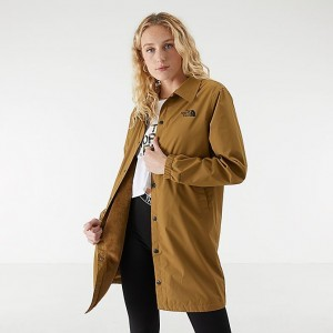 Women's The North Face Long Coaches Jacket Khaki Sales