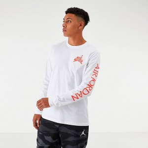 Men's Jordan Mashup Classics Long-Sleeve T-Shirt White/Infrared Sales