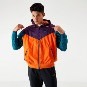 Men's Nike Sportswear Colorblock Windrunner Hooded Jacket Starfish/Grande Purple/Geode Teal Sales