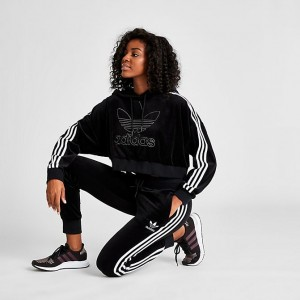 Women's adidas Originals 3-Stripes Velvet Track Jogger Pants Black/White Sales