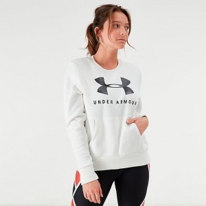 Women's Under Armour Favorite Fleece Sportstyle Graphic Crew Sweatshirt Onyx White/Black Sales