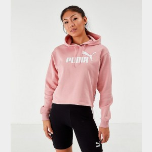 Women's Puma Elevated Essentials Cropped Fleece Hoodie Bridal Rose Sales