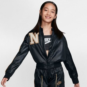 Girls' Nike Sportswear Varsity Jacket Black/Sail/Club Gold/Metallic Gold Sales