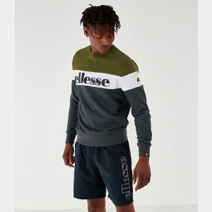 Men's Ellesse Tarins Colorblock Fleece Crewneck Sweatshirt Grey/White/Forest Green Sales