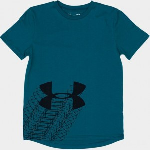 Boys' Under Armour Linear Logo T-Shirt Teal Vibe Sales