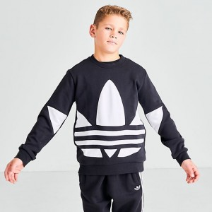 Boys' adidas Originals Big Trefoil Crewneck Sweatshirt Black/White Sales