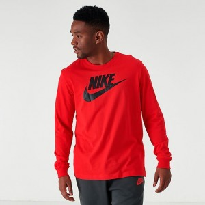 Men's Nike Sportswear Futura Icon Long-Sleeve T-Shirt Red/Black Sales