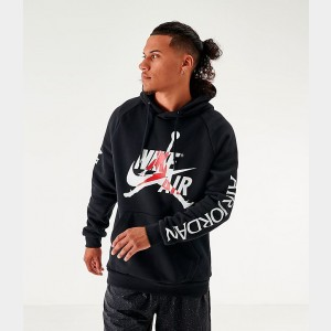 Men's Jordan Mashup Jumpman Classics Fleece Hoodie Black/White Sales