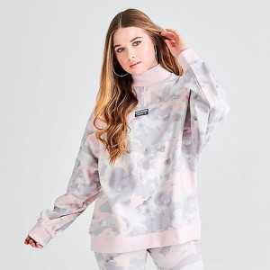 Women's adidas Originals Allover Print Sweatshirt Chalk White/Light Granite/Grey/Desert Pink Sales