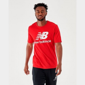 Men's New Balance Essentials Stacked Logo T-Shirt Red Sales