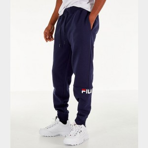Men's FILA Topher Fleece Jogger Pants Navy Sales