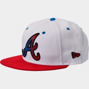 New Era Atlanta Braves MLB Split Color 9FIFTY Snapback Hat White/Red/Blue Sales