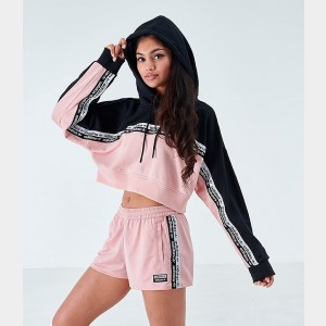 Women's adidas Originals Tape Colorblock Pullover Hoodie Pink/Black Sales
