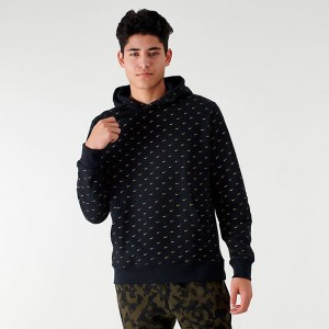 Men's Nike Sportswear Allover Print Swoosh Hoodie Black/Gold Sales