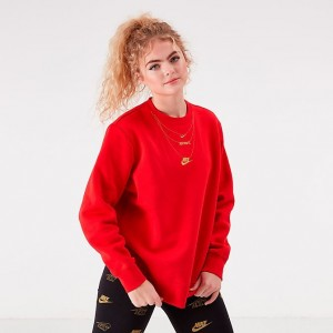 Women's Nike Sportswear Glam Dunk Crew Sweatshirt University Red/Metallic Sales